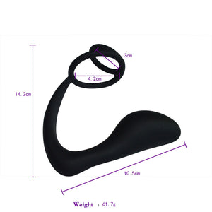 Flexible Double Cock Ring Prostate Massager