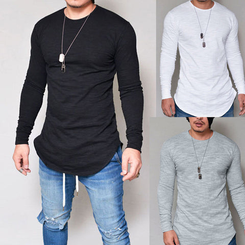 Men Slim Fit O Neck Long Sleeve  T-shirt - ShirtSpice