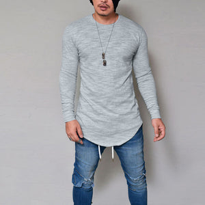 Men Slim Fit O Neck Long Sleeve  T-shirt
