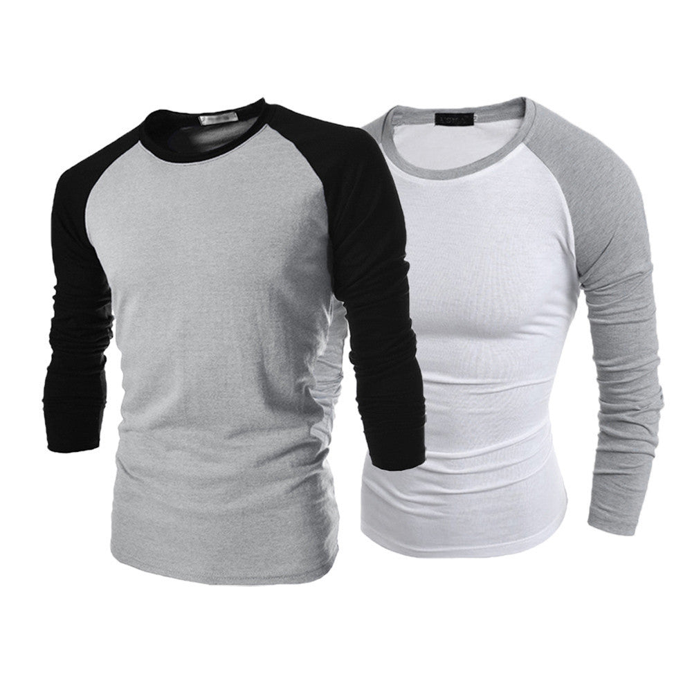 Men Long Sleeve T-Shirt Plain Cotton