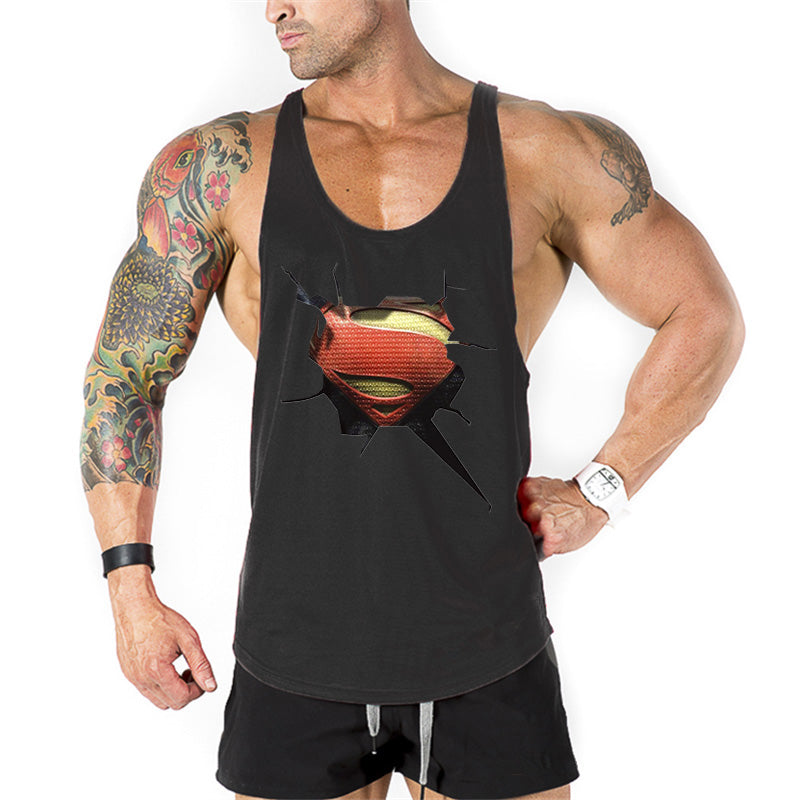 Superman 3D print gyms stringer tank top Men's Workout Shirt