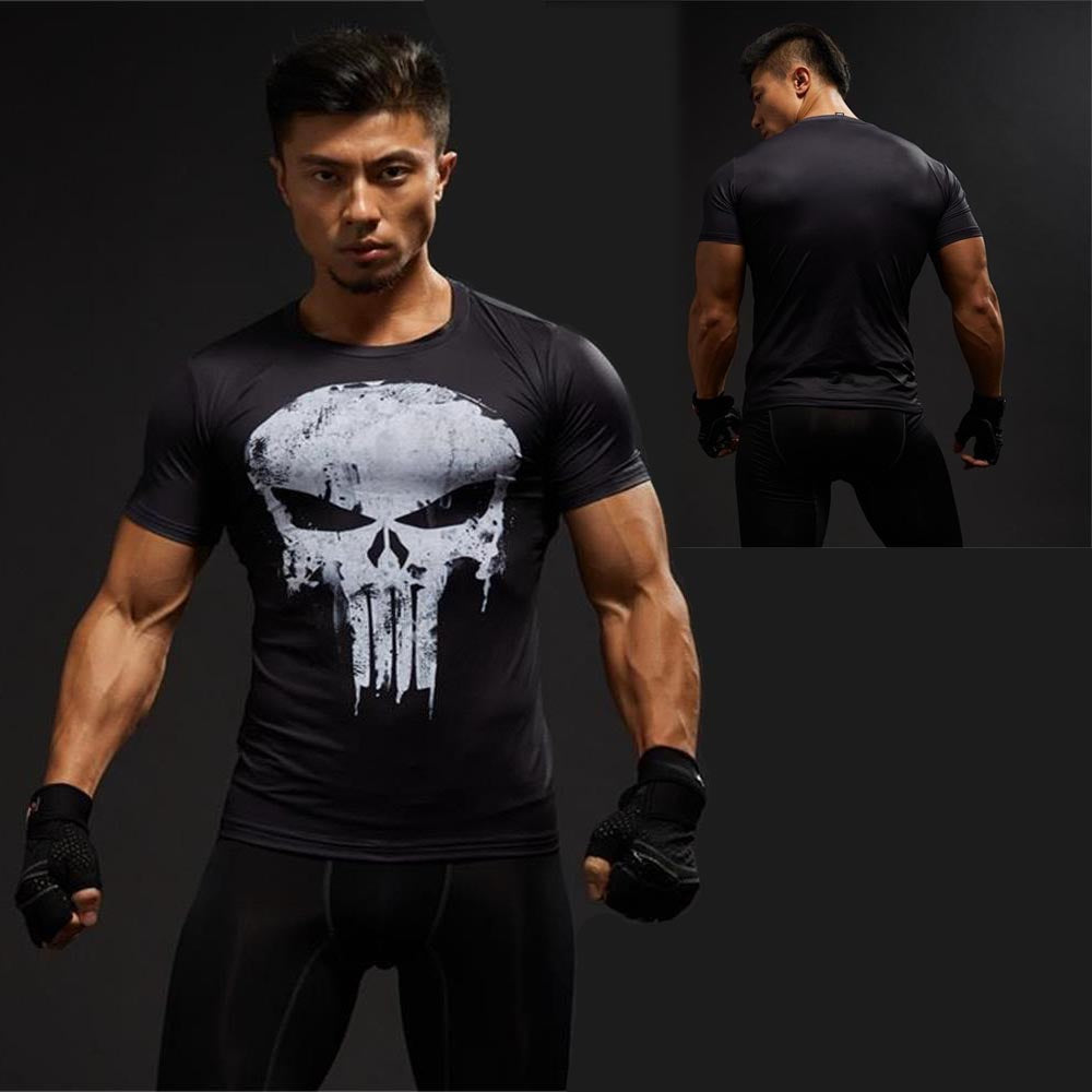 Punisher Captain America Superman Gym Sports T Shirt