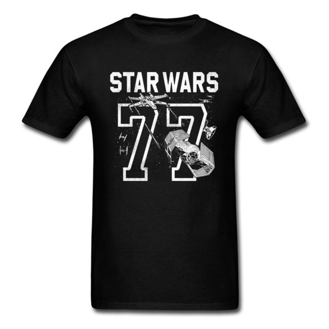 Star Wars 77 Print T Shirt Men Black White - ShirtSpice