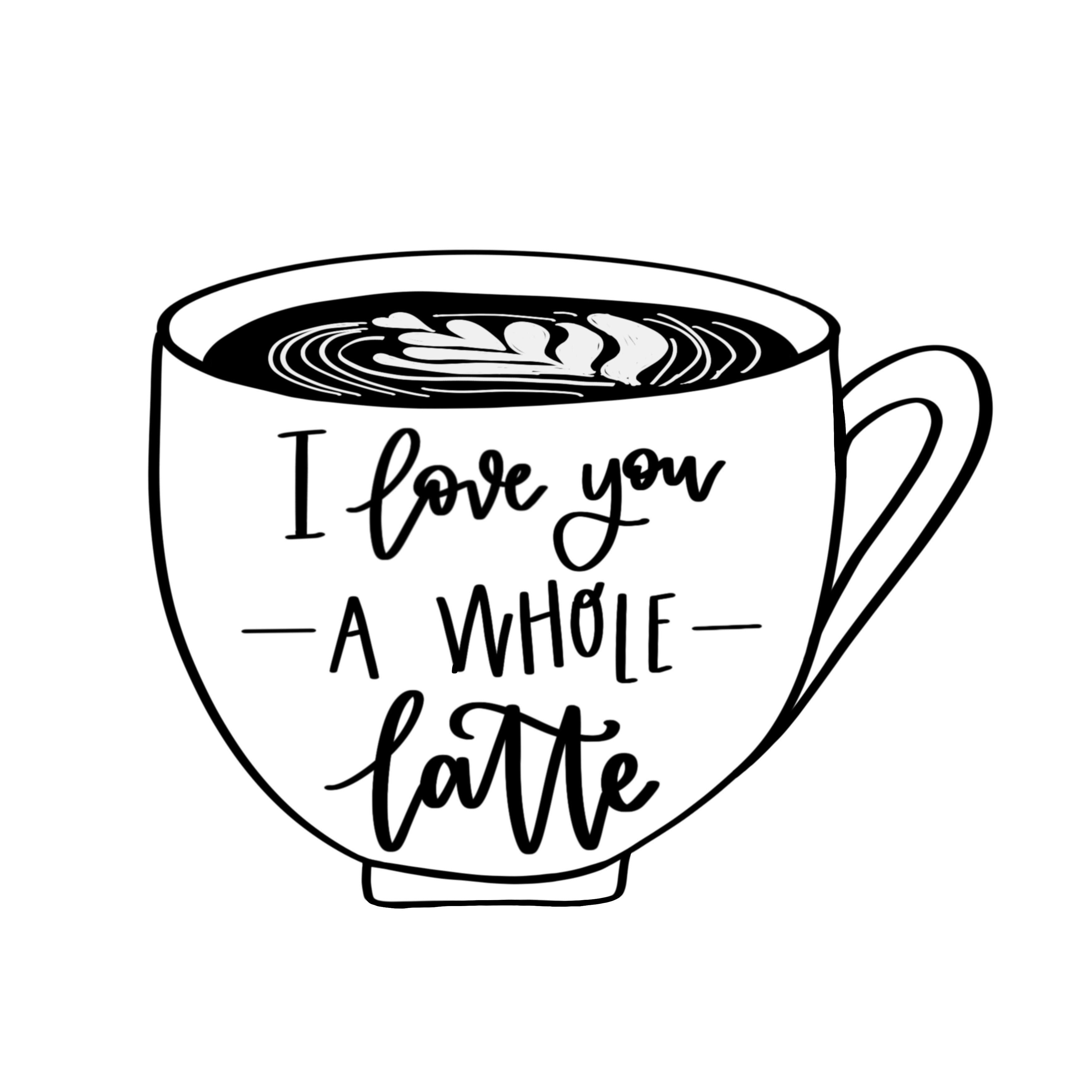 graphic regarding I Love You Printable identify I enjoy yourself a total latte no cost printable Line Letter Programs