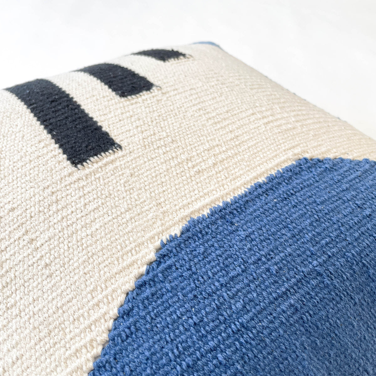 Gökyüzü Blue, Black, and Cream Handwoven Pillow