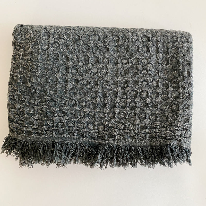 LINDA STONEWASHED THROW 100% TURKISH COTTON THROW BLANKET
