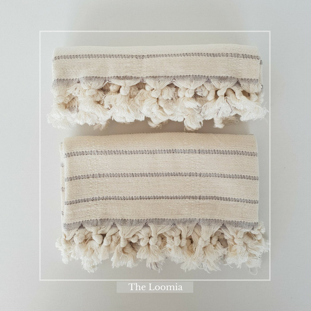 Deniz Turkish Hand Towel 2pc - Made of Bamboo and Turkish Cotton