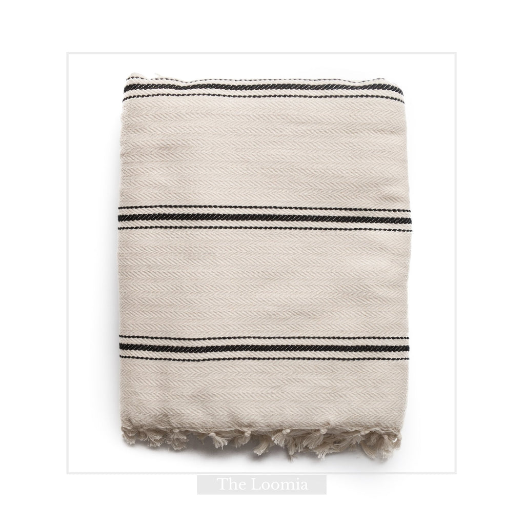 Sophie 100% Turkish Cotton Throw Blanket (Full Size, Cream Base with Black Stripes)