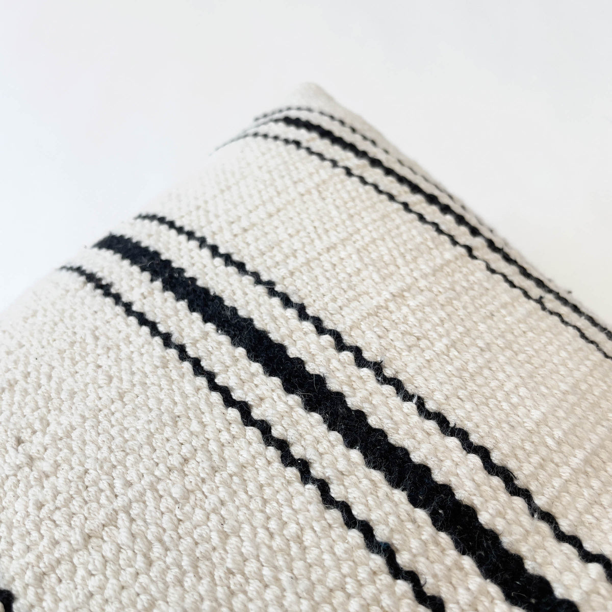 SOPHIE BLACK AND CREAM STRIPE HANDWOVEN PILLOW