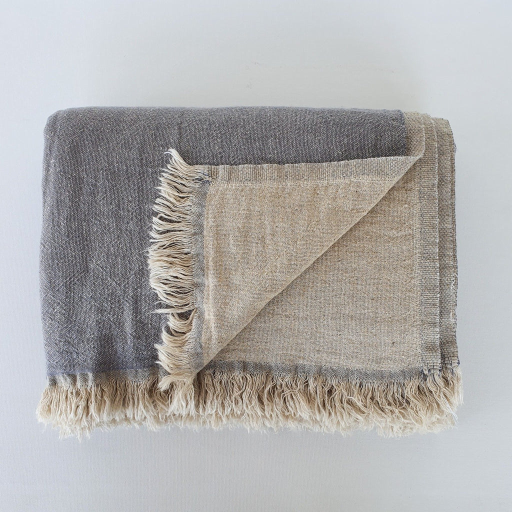 Ekani Linen and Cotton Turkish Throw Blanket