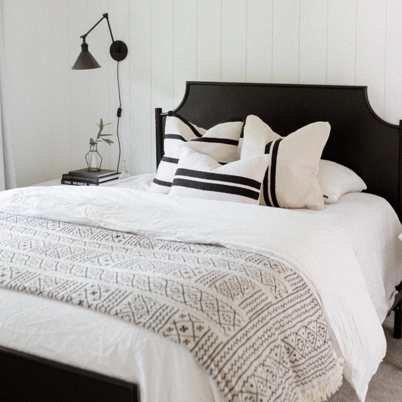 Viti Handwoven Black and Cream Pillow