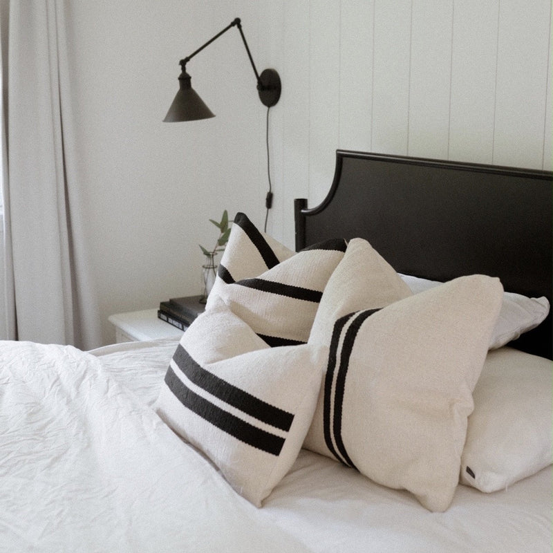Chanda Handwoven Black and Cream Pillow