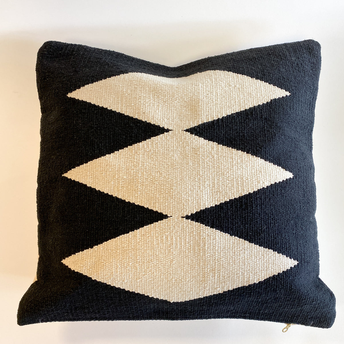 Mana Handwoven Black and Cream Pillow