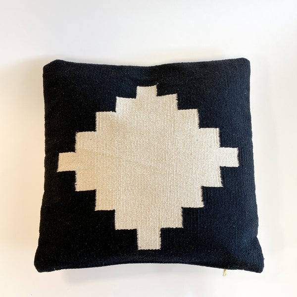 Omala Handwoven Black and Cream Pillow