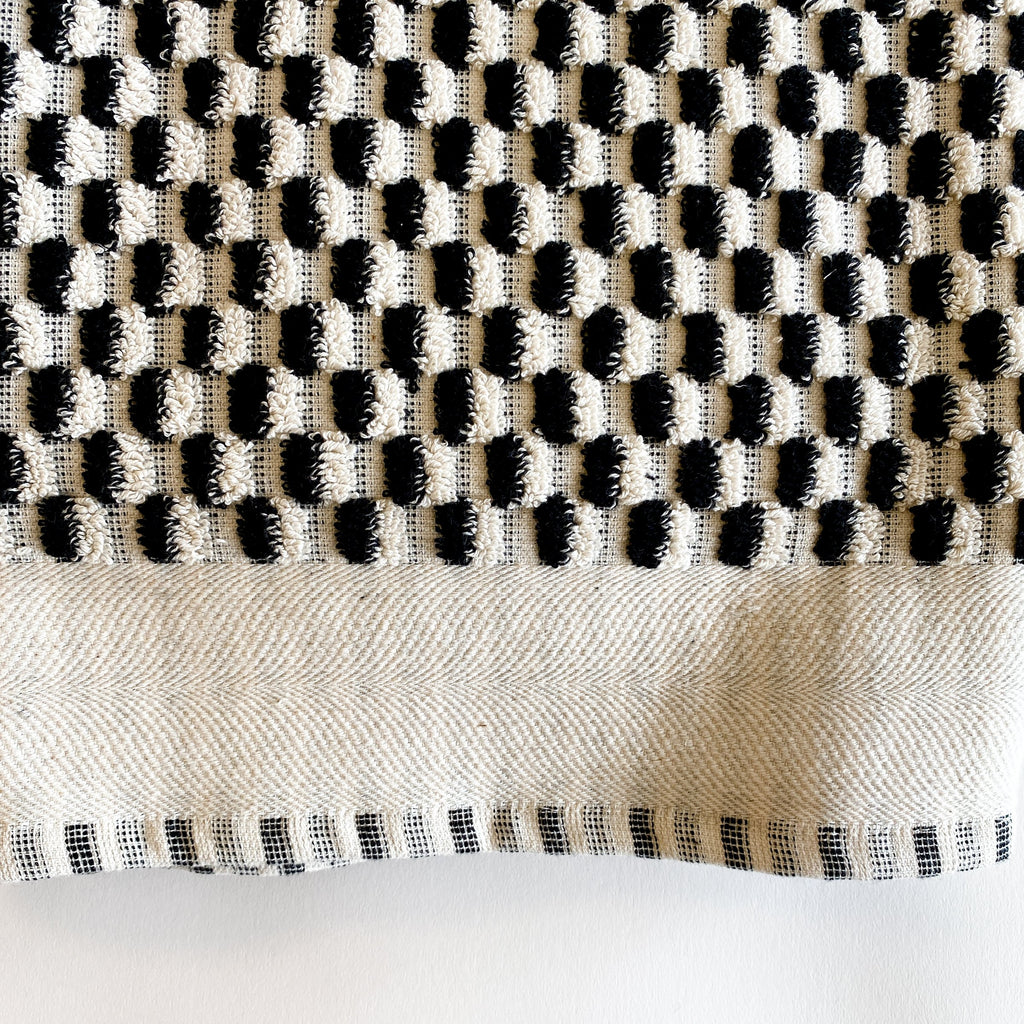 Ruth Black and Cream Extra Large Handwoven Terry Towel