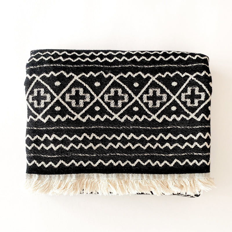 Moon Black and White African Motifs Throw-Blanket