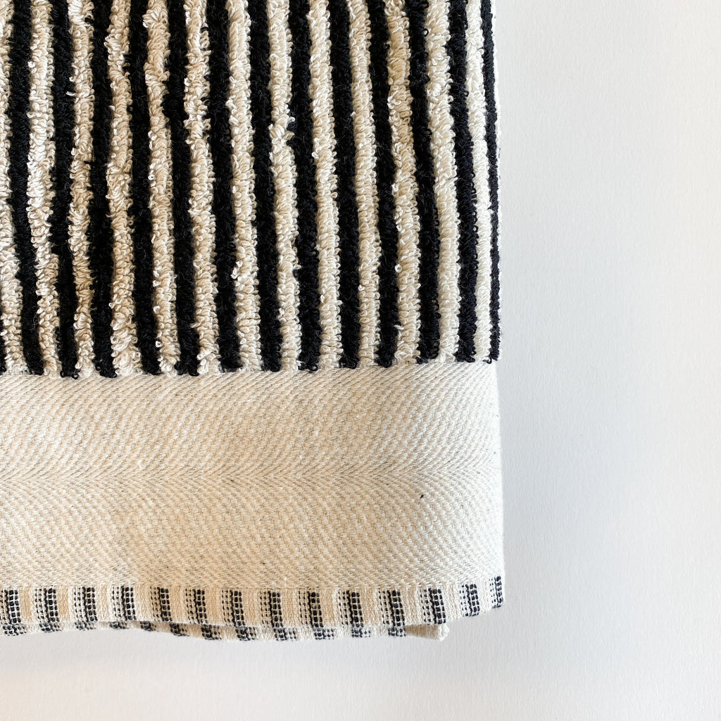 Doris Black and Cream Extra Large Handwoven Terry Towel