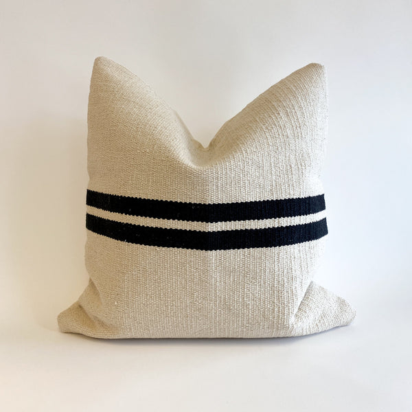 Ruhi Handwoven Black and Cream Pillow