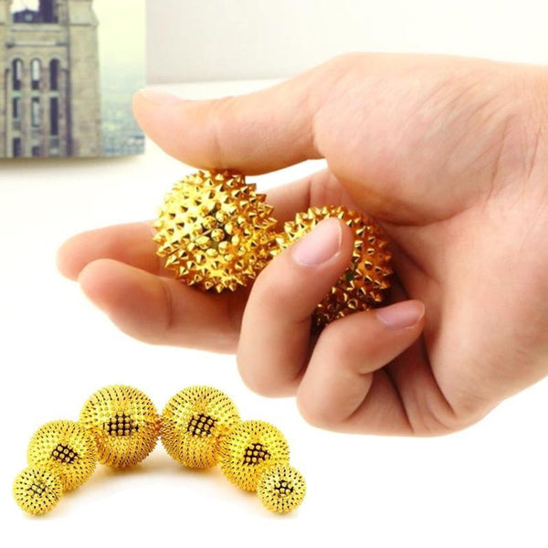 Golden Magnetic Hand Palm Acupuncture Ball Pain Relief Massage