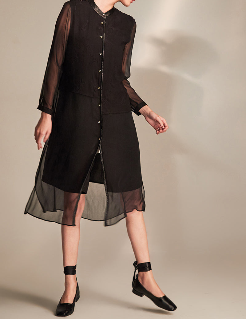 Asymmetrical Silk Shirt Dress