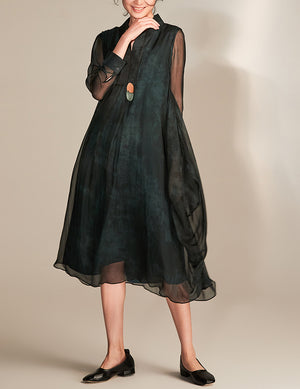 Oriental Collar Long Sleeve Silk Dress
