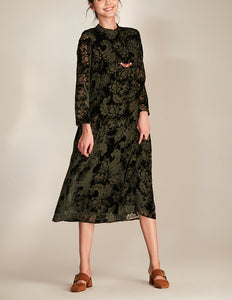 Olive Floral Embellishment Velvet Dress