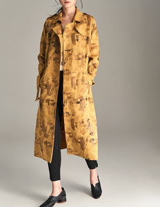Suede Trench Coat with Geometric Print