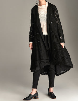 Lace Detail Trench Coat
