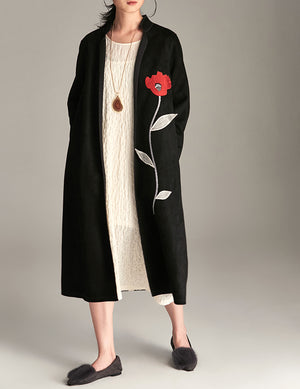 Embroidered Suede Coat