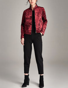 Velvet Jacket with Stand Collar