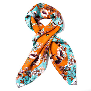 Women's Silk Square Scarf - Orange Pattern