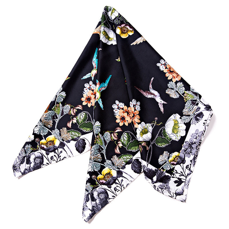 Silks Square Scarf - Floral Black Pattern