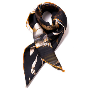Women's 100% Silk Square Scarf - Gold and Black Pattern