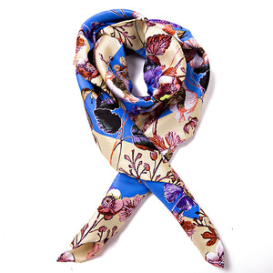 Women's 100% Silk Square Scarf - Blue Pattern