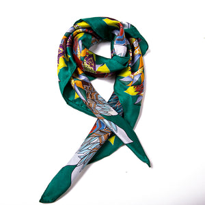 Women's 100% Silk Square Scarf - Green Pattern