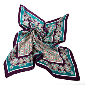Women's 100% Silk Square Scarf - Green and Purple Pattern