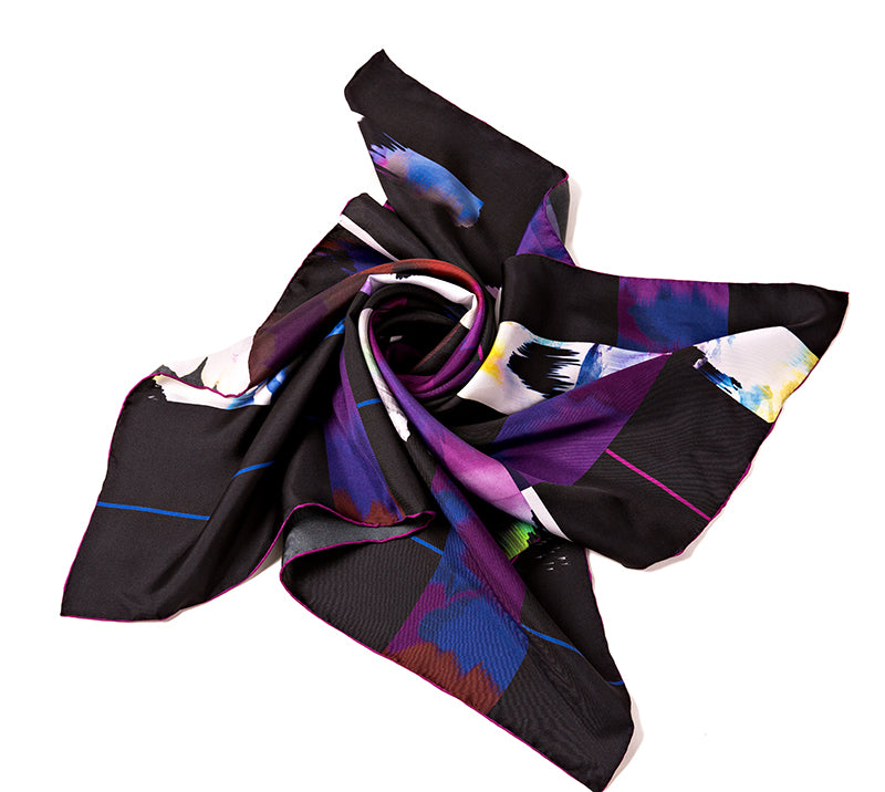Silk Square Scarf - Dark Purple Pattern
