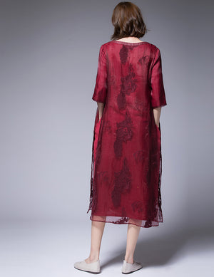 Red Embroidered Silk Dress