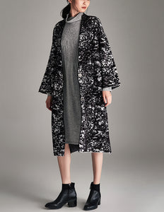 Two Tone Drop Shoulder Long Coat