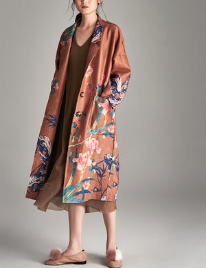 Floral Print Faux Suede Long Coat With Tuxedo Collar