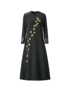 Embroidered Long Dress with Leather Detail