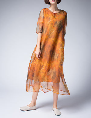 Silk A-line Dress with Floral Print