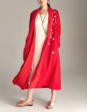 Red Floral Wool Blend Coat
