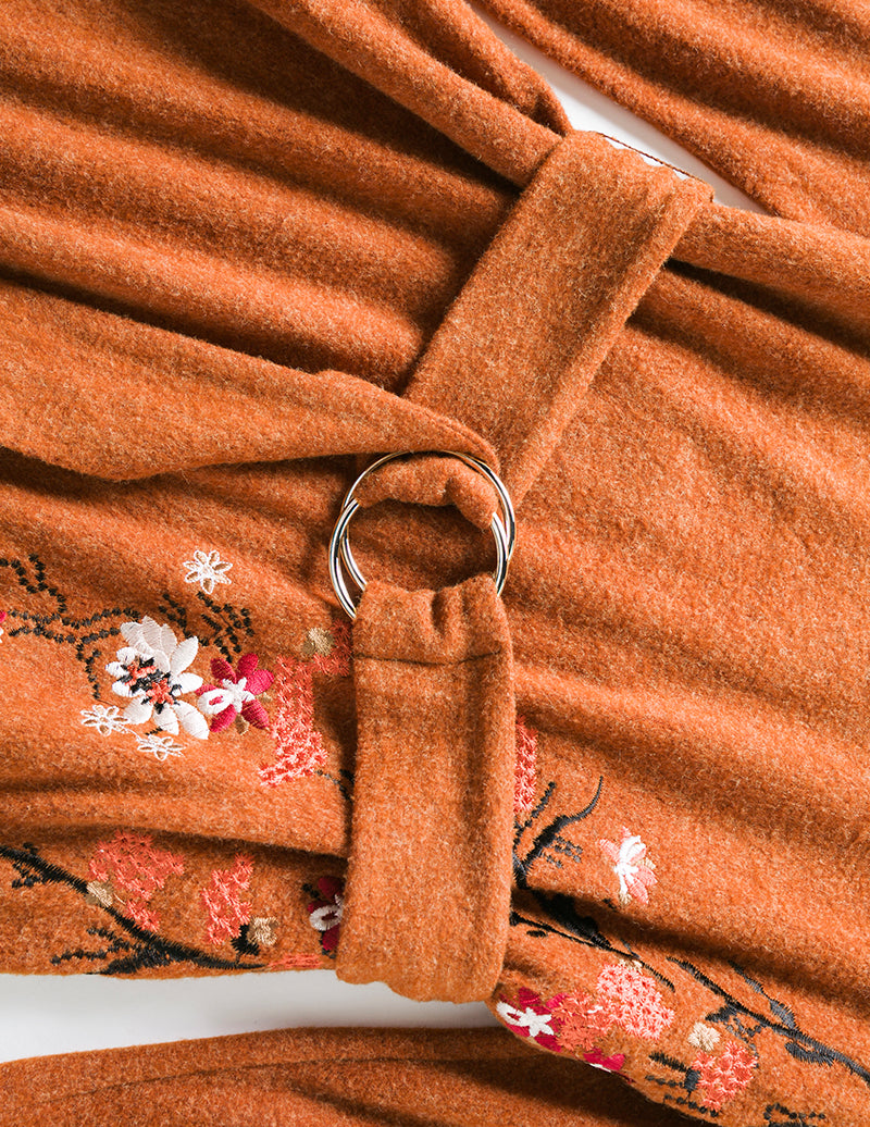 Classic Embroidery Detail Crossover Knit Dress