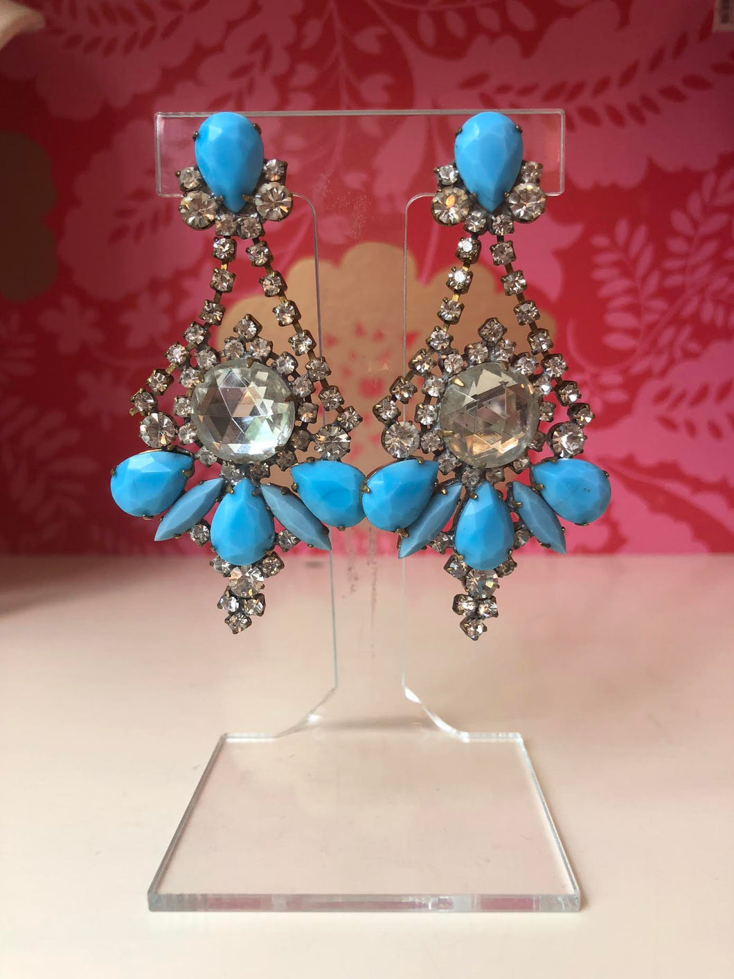 Blue and Crystal Earrings