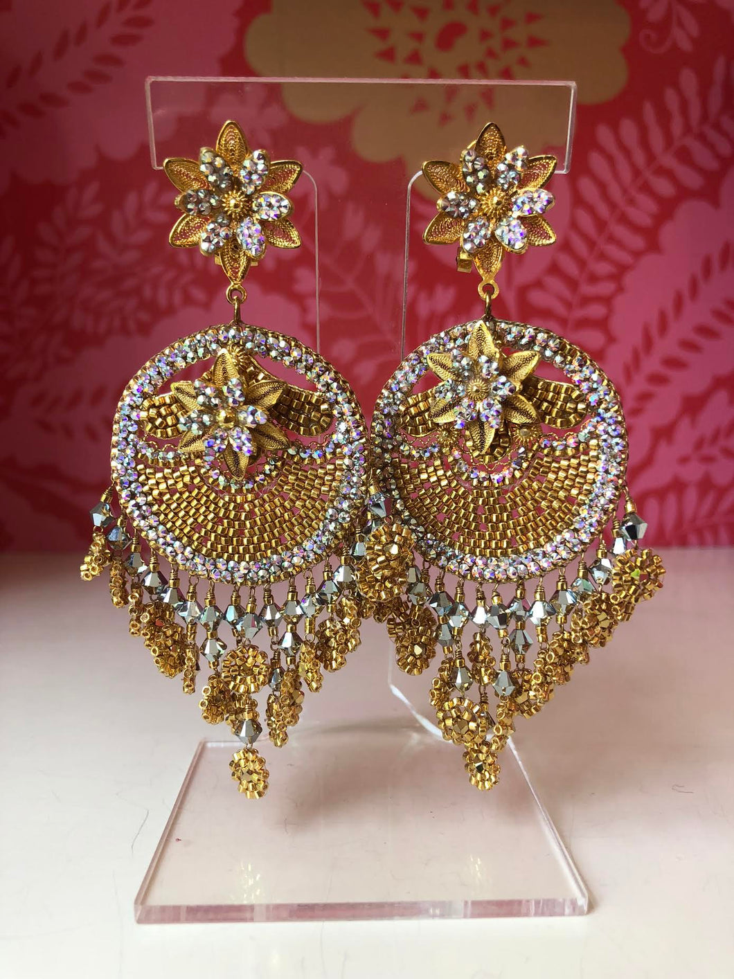 Gold and Silver Beaded Moroccan Earrings