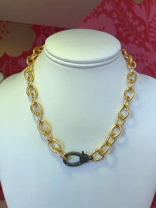 Gold Chain Necklace with Slice Diamond Clasp