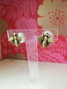 Bee Stud Earrings with Faux Pearl Backs