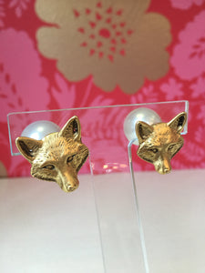 Fox Stud Earrings with Faux Pearl Backs