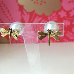 Dragonfly Stud Earrings with Faux Pearl Backs